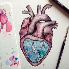 Secrets of the heart. Art Drawings For Kids, Amazing Drawings, Couple Drawings, Easy Drawings, Pencil Drawings, Drawing Competition, Art Folder, Sugar Skull Art, Medical Art