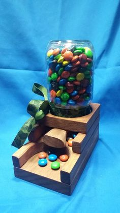 Mason Jar Candy Dispenser.  Handmade with a by smalltownbrowns