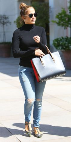 Jennifer Lopez Looks Glamorous While Running Errands in Calabasas from InStyle.com