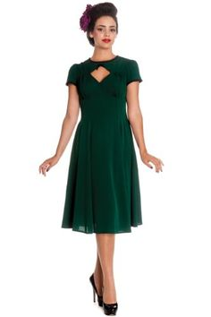 3fa9d68ac34 Hell Bunny Women s Green Nell 40s 50s Retro Vintage Dress (US Size 8) Hell