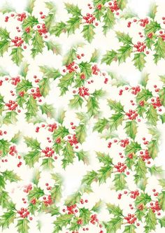 Vintage look holly on cream gift wrap.  Print as Christmas wrapping paper and/ or print on a smaller scale as a tag.