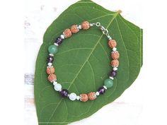 Náramek s Rudrakšou, Ametystem, měsíčním kámenem, Avanturínem & Perlami Summer Bracelets, Linux, Beaded Necklace, Green, Jewelry, Fashion, Beaded Collar, Moda, Jewlery