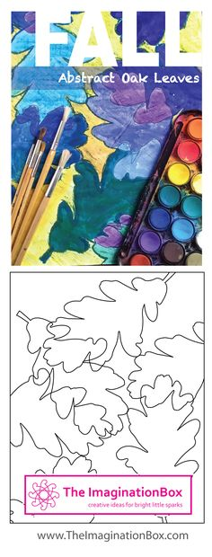 Abstract Autumn/Fall creative painting activity pack for kids, with acorns and oak leaves templates