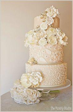 Wedding cake. I love the scroll work on this cake!