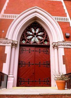 Red Church Door in Brooklyn, NY.