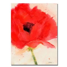 Shelia Golden 'Green Poppy' Canvas Art | Overstock.com Shopping - Top Rated Trademark Fine Art Canvas