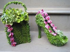 botanical shoe and purse  with phaelonopsis orchids, succulents and ferns, Françoise Weeks