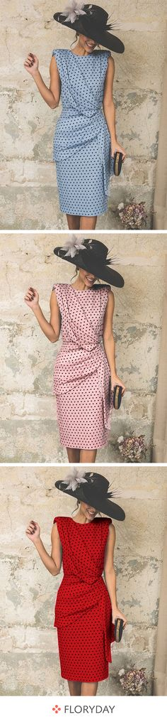 Polka dot buttons sleeveless knee-length dress, gorgeous, oulook of the day. Mother Of The Bride Fashion, Mother Of Bride Outfits, Mother Of Groom Dresses, Floryday Dresses, Women's Fashion Dresses, Summer Dresses, Cute Outfits With Jeans, Casual Fall Outfits, Leather Leggings Look