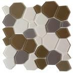 Instant Mosaic Upscale Designs Mesh-Mounted Glass Wall Tile - 3 in. x 6 in. Tile Sample, Taupe And Tan