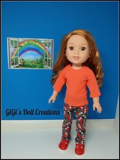 Handmade Doll Clothes fits 14.5 inch dolls such as  Wellie Wishers,  American made, Girl Dolls, Foxes, Leggings,  Doll Shirt, Doll leggings