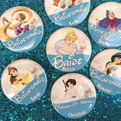 Disney Bridal Party Blue Character 3 by BippityBoppityButton