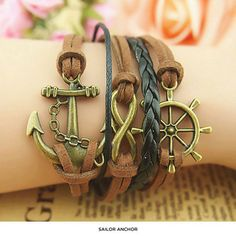 DIY - Multi cord nautical bracelet - anchor, boat wheel, infinity charms with leather and suede cording, metal fasteners