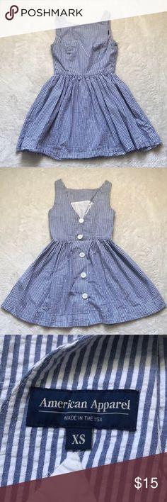 American Apparel seersucker dress Blue and white seersucker dress from American apparel size xs great condition! American Apparel Dresses Mini