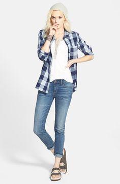 Birkenstock 'Arizona' Genuine Shearling Lined Sandal (Women) | Nordstrom Semi hideous, but look comfy!