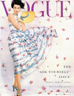 Wearing Traina-Norell, 1953 Blustery and beautiful on the cover of Vogue, Vogue Magazine Covers, Fashion Magazine Cover, Fashion Cover, Moda Retro, Moda Vintage, Vintage Mode, Vogue Fashion, 1950s Fashion, Vintage Fashion