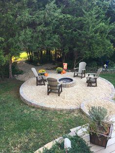 Fire Pit Gravel, Fire Pit Backyard, Backyard Layout, Small Backyard Patio, Big Green Egg Outdoor Kitchen, Fire Pit Landscaping, Fire Pit Area, Fire Pit Designs, Backyard Makeover