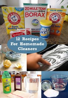 12 Easy DIY Recipes for Homemade Cleaners - great natural, all purpose recipes for kitchen, bathroom and more. Options with vinegar and with essential oils, too.