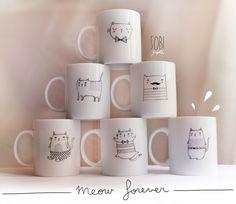 Cartoon cat mugs