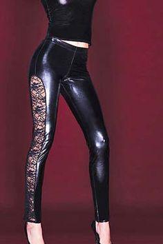 Sexy Coquette Glanz Leggings mit Spitzeneinsatz - Größe S 36, M 38, L 40. Neu bei www.easyfunshop.net