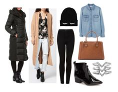 Black pants, denim shirt, long neutral cardigan, black coat, black shoes, black beanie, silver rings