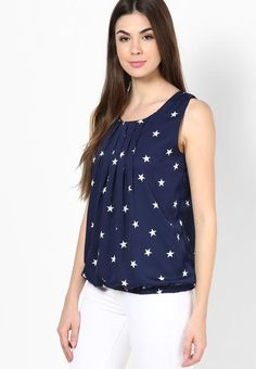 LadyIndia.com # Summer Wear, Navy Blue Color Casual Sleeveless Polyester Round Neck Star Print Top, Casual Wear, Summer Wear, College Wear, New Fashion Trend, https://ladyindia.com/collections/western-wear/products/navy-blue-color-casual-sleeveless-polyester-round-neck-star-print-top?variant=32472556045