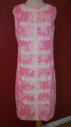 Lilly Pulitzer 1960s rose floral lace trim pink by Angelsvintage1, $125.00