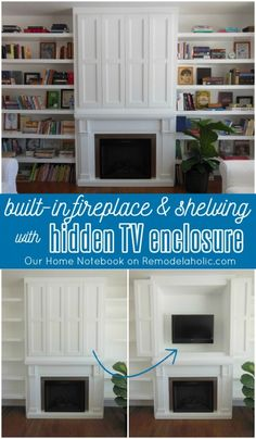 This is brilliant! Hidden TV Nook in Fireplace Shelving Built-In