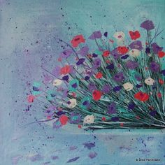 Acrylbild Blumen abstrakt, 50x50cm