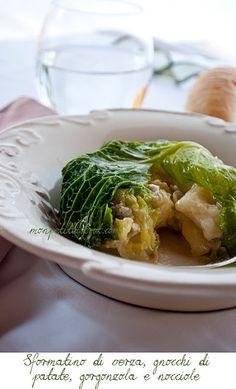 Sformatino di verza con gnocchi di patate, gorgonzola e nocciole