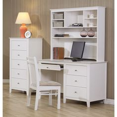 Coaster Company White Wood Writing Desk