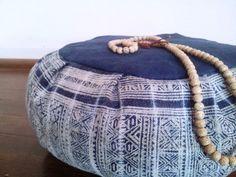 Indigo Batik Meditation Cushion/ ZafuHand Woven by ArtiZenThreads, $110.00