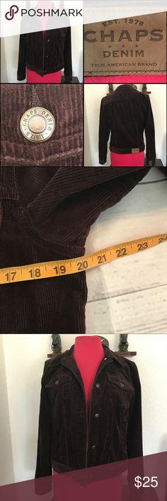 Corduroy Jacket Trucker style Chaps Denim Corduroy warm Cropped Coat. Button Down. Great condition. Chaps Jackets & Coats
