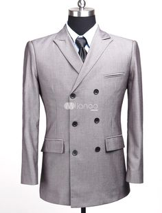 Champagne Double-Breasted Front Button Stripe Pattern Cotton Blend Mens Suit. See More Mens Business Suits at http://www.ourgreatshop.com/Men-039-s-Business-Suits-C785.aspx