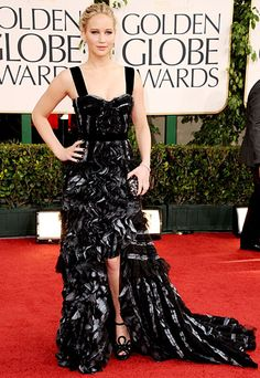 Jennifer Lawrence in Louis Vuitton. Such a cool dress. #goldenglobes