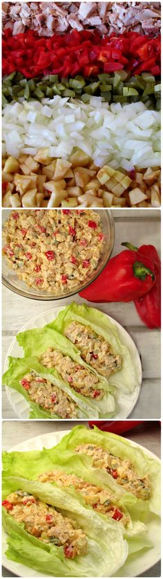 Red Bell Pepper Chicken Salad Lettuce Wraps (Low Carb & 2nd phase because of apple  Gluten Free)