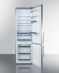 Summit FFBF181ES 24 Inch Bottom Freezer Refrigerator with 3 Adjustable Glass Shelves, Wine Rack, ZeroZone Deli Drawer, Multi-Box Storage Container, Humidity Controlled Crisper, 3 Freezer Drawers, Digital Thermostat and ENERGY STAR Certified: No Ice Maker