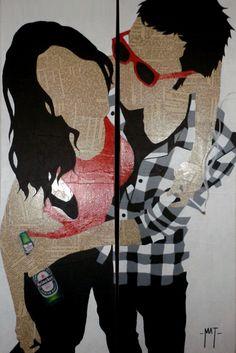 - about a girl - - technique mixte sur collage - - copyright - matthieu gerbeaud