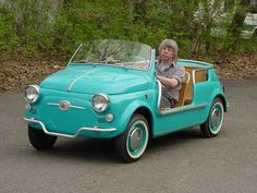"A #Fiat ""Jolly"" - meant to drive on the beach! It's apparently a California thing."
