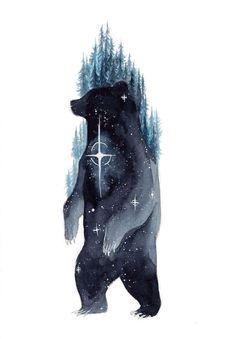 A selection of stunning watercolor galaxy animal paintings by Switzerland-based artist Déborah Maradan, known as ThreeLeaves. Bear Tattoos, Animal Tattoos, Body Art Tattoos, Tatoos, Ankle Tattoos, Arrow Tattoos, Word Tattoos, Fuchs Illustration, Art And Illustration