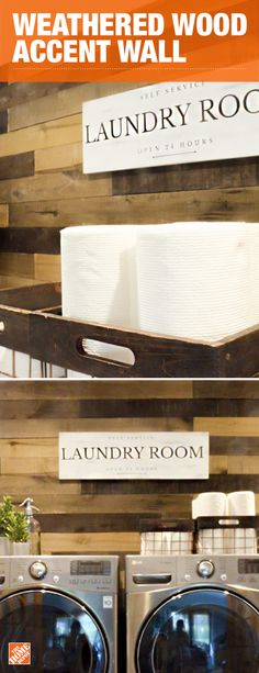 Refresh any space with a strikingly beautiful accent wall. This laundry room was updated with Weathered Hardwood Boards to achieve a rustic, reclaimed look. Ideal for walls, headboards, and other interior project ideas. The possibilities are endless. Houston, Laundry Room Design, Laundry Rooms, Laundry Hacks, Laundry Area, Laundry Storage, Small Laundry, Storage Shelves, Storage Ideas
