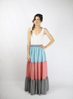 Vintage MAXI SKIRT by #renewvintage #etsy #maxiskirt #gingham #hippie #folk #boho #vintageskirt