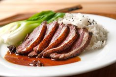 In this easy duck breast recipe, heady Chinese five spice and a sticky-sweet sauce spiked with star anise make a wonderful complement to the rich flavor of duck. Duck Breast Recipe, Meat Delivery, Recipe D, Recipe Spice, Almond Chicken, Wagyu Beef, Roast Duck, Easy Asian Recipes, Duck Recipes