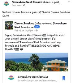 We love to hear from our guests! When are you coming to stay with us? #negril #negriljamaica #westend #westendnegril #westendnegriljamaica #westendnegrilja #somewherewest #jamaica #travel #caribbean #sea #sand #ocean #cliffs #sunset #heaven #heavenonearth #pool #saltwaterpool #jamaican #jamaicanfood #jerkchicken #reggae #redstripe #sun #peaceful #reviews #caribbean #seaview #guesthouse by somewherewestnegril