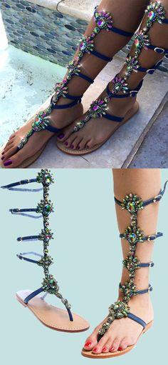 Blue Bohemian Rhinestones Thong Gladiator Sandals