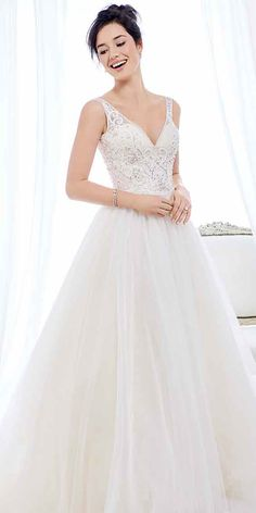 Ella Rosa Style BE389 |  lace bodice with straps and  full skirt  | romantic wedding dress | bridal gown #weddinggown #weddingdress