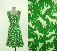 1960's Donkey Novelty Print Dress S M Ruth by SquirrelFriendVNTG