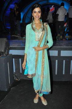 Deepika Padukone on the sets of a TV show