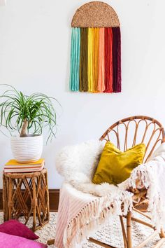 Easy Yarn Wall Art DIY  - A Beautiful Mess