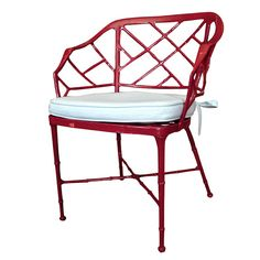 Paint a Chinese Chippendale faux bamboo patio set Chinese Red with pale blue Sunbrella cushions