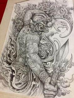 Dragon Tattoo Full Back, Full Back Tattoos, Buddha Tattoo Design, Buddha Tattoos, Khmer Tattoo, Thai Tattoo, Thailand Tattoo, Thailand Art, Sak Yant Tattoo